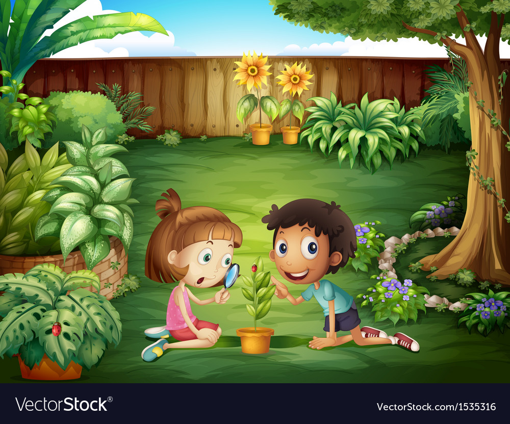 Two adorable kids studying the ladybug at the yard vector | Price: 1 Credit (USD $1)