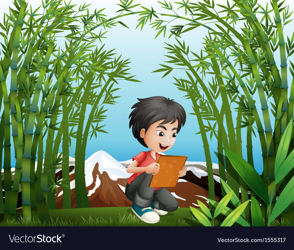 A boy holding a frame at the rainforest vector | Price: 3 Credit (USD $3)