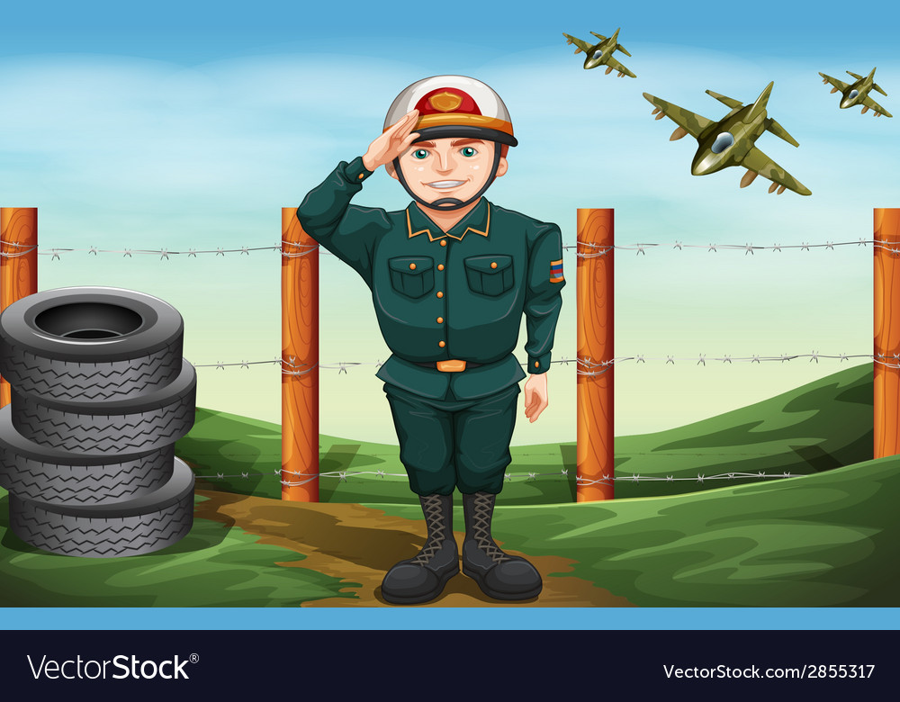 A brave soldier doing a hand salute vector | Price: 3 Credit (USD $3)