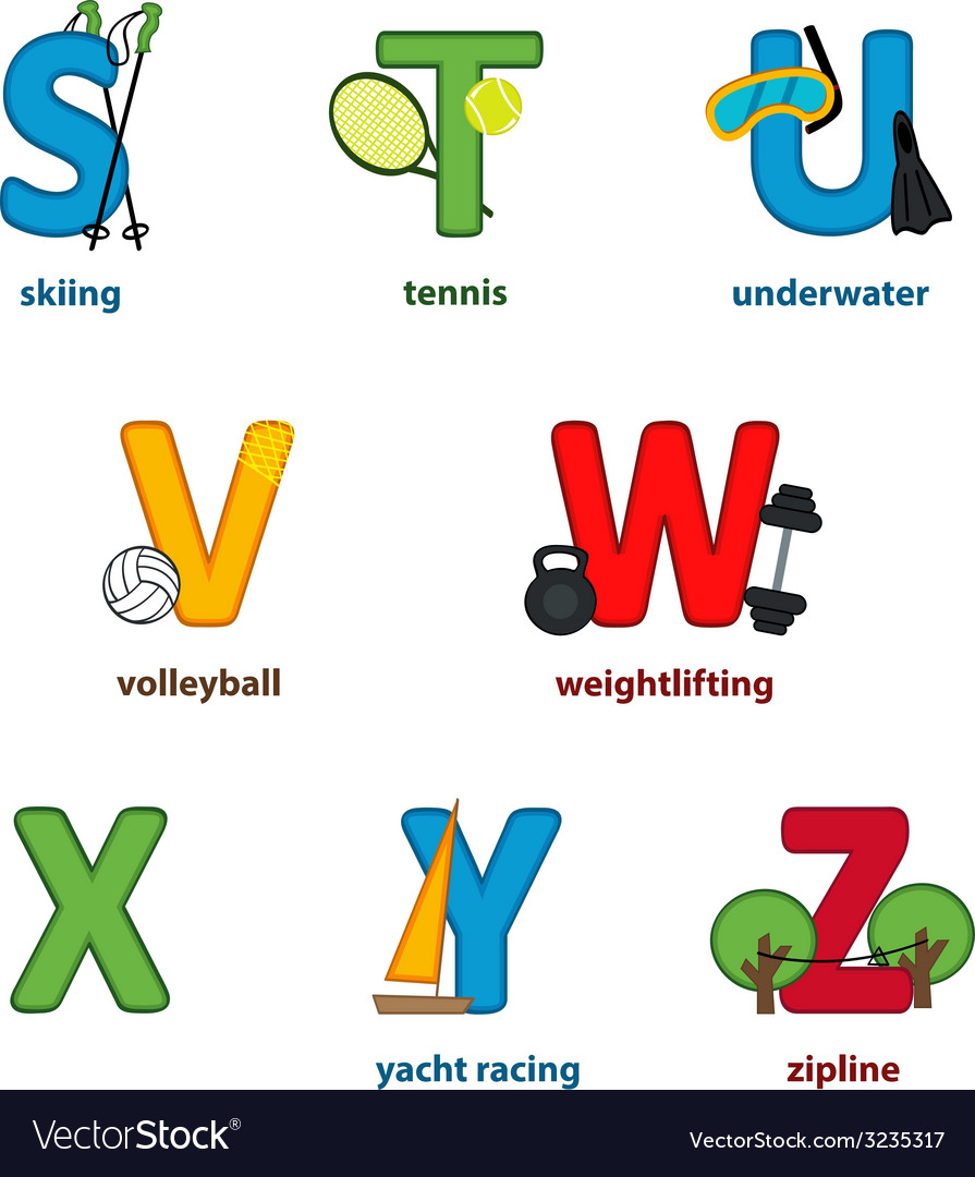 Alphabet sport from s to z vector | Price: 1 Credit (USD $1)