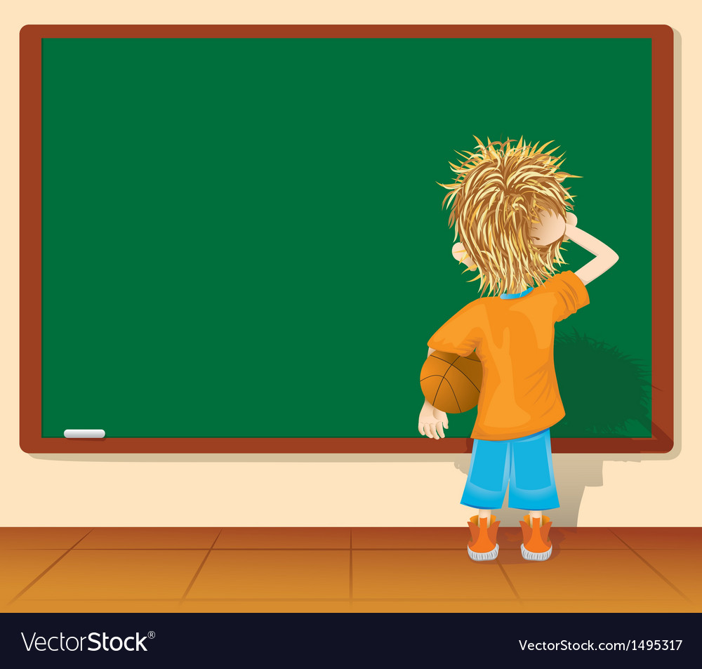 Cartoon little boy and blackboard vector | Price: 1 Credit (USD $1)