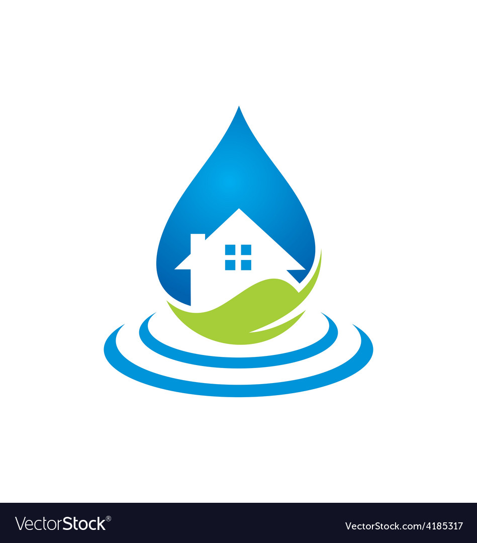 Clean house water ecology logo vector | Price: 1 Credit (USD $1)