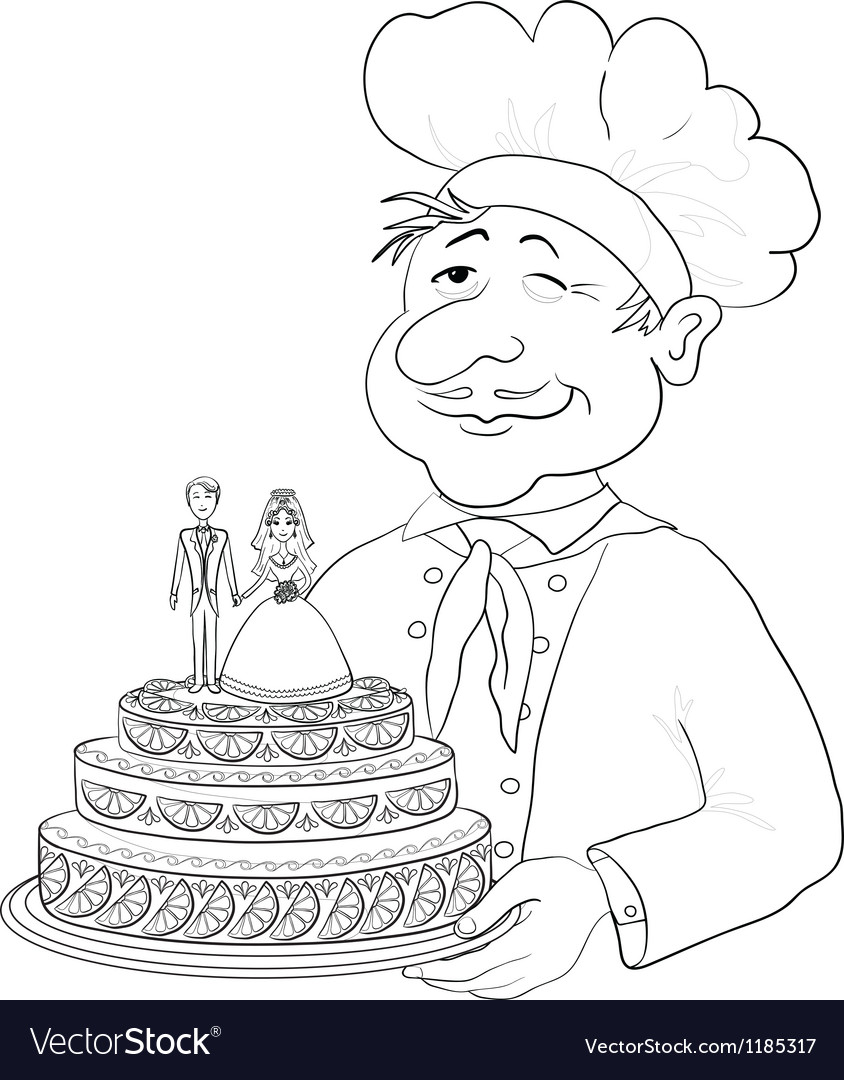 Cook with holiday wedding cake contour vector | Price: 1 Credit (USD $1)