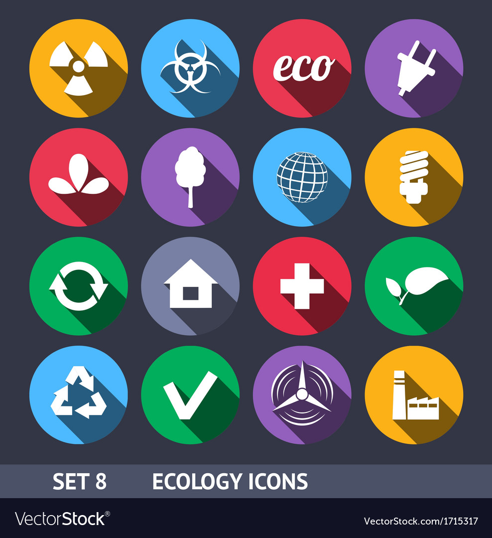 Ecology icons with long shadow set 8 vector | Price: 1 Credit (USD $1)