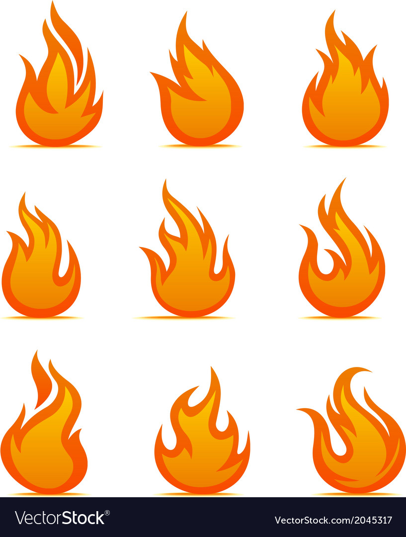 Fire warning symbols vector | Price: 1 Credit (USD $1)