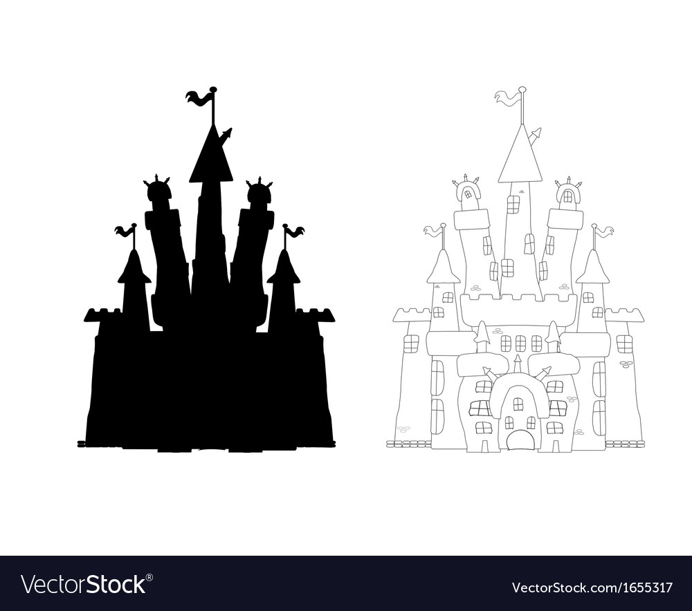 Outlined castle vector | Price: 1 Credit (USD $1)