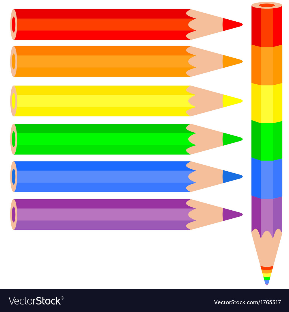 Set of colored pencil a rainbow pencil near vector | Price: 1 Credit (USD $1)