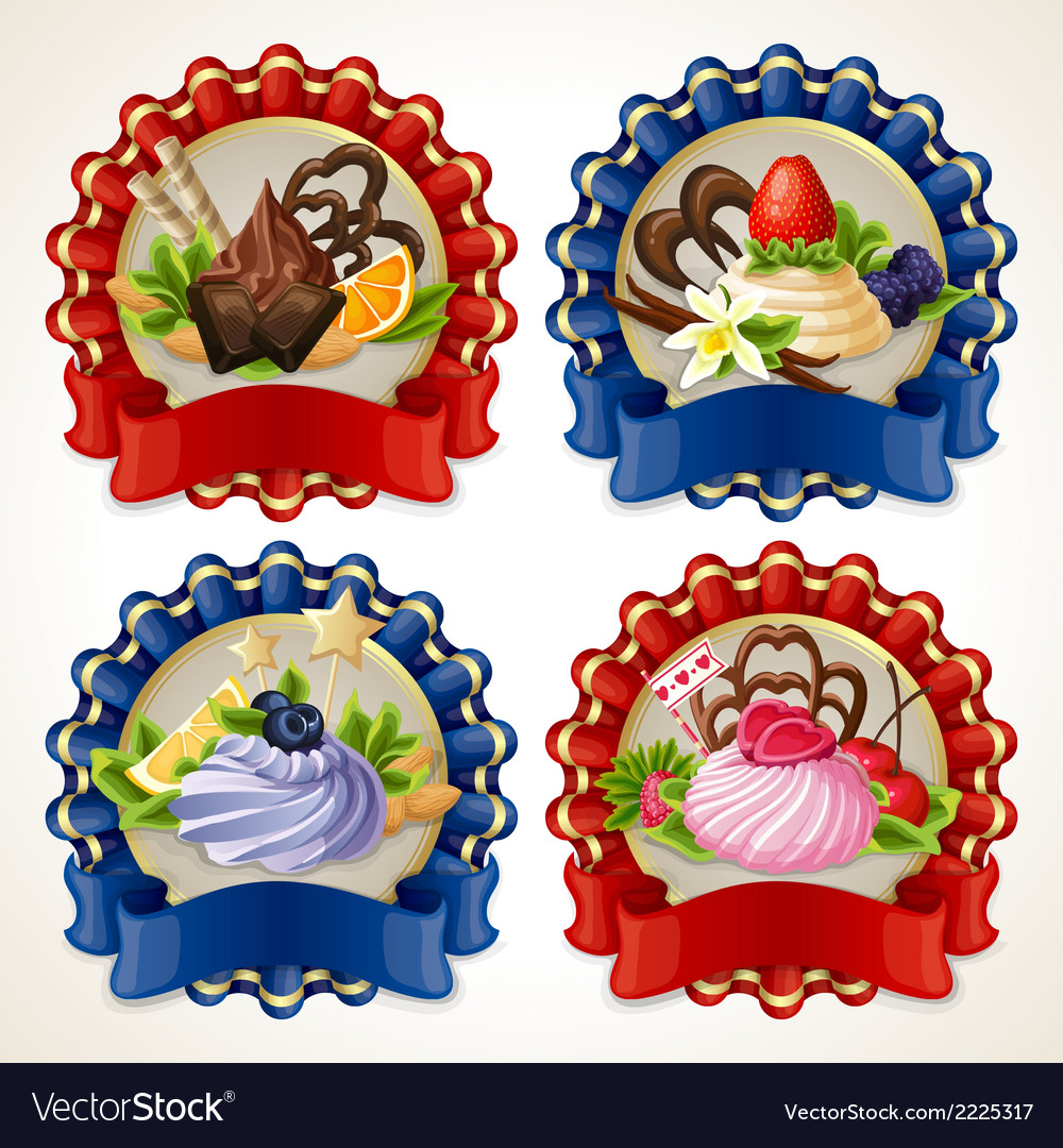 Sweets ribbon banners vector | Price: 1 Credit (USD $1)