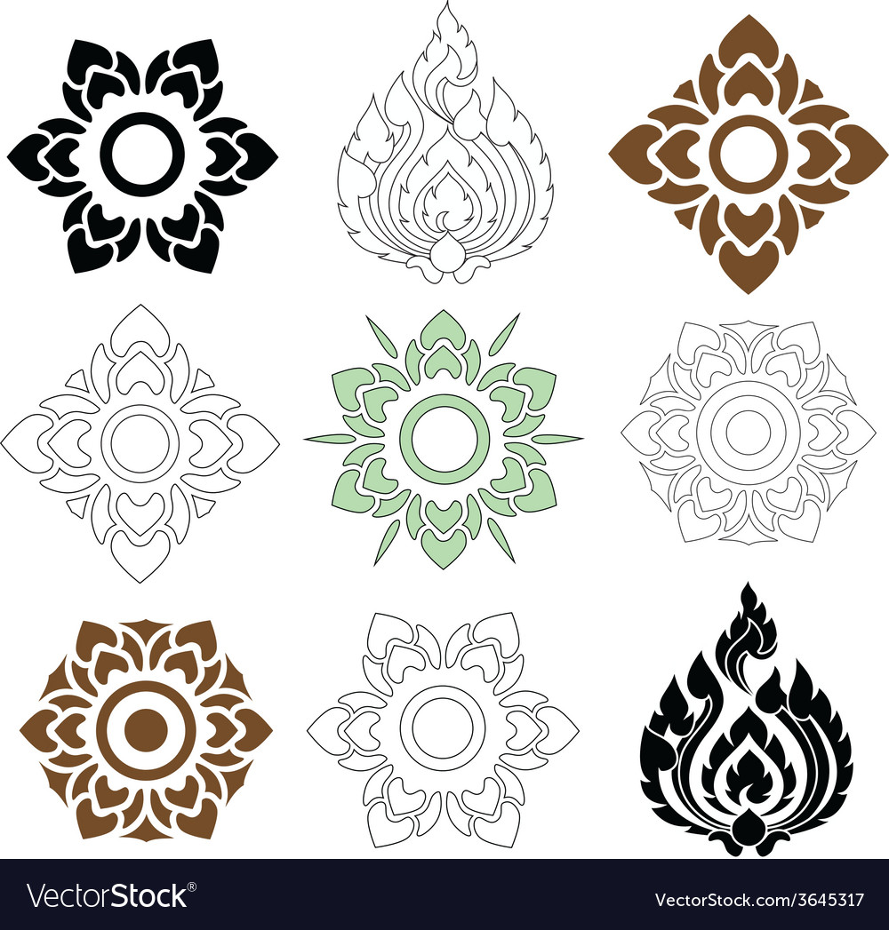 Thai pattern floral vector | Price: 1 Credit (USD $1)