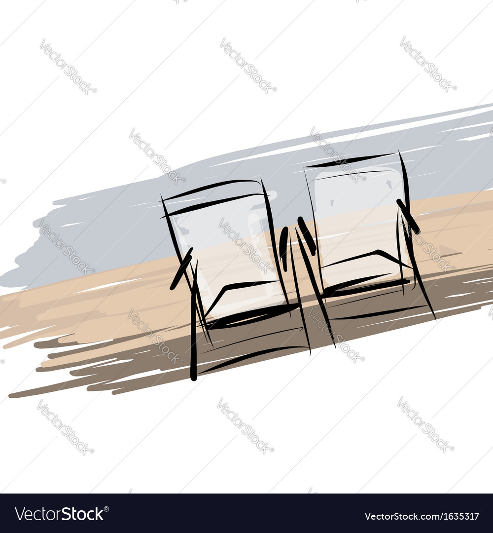 Two deck chairs on the beach sketch for your vector | Price: 1 Credit (USD $1)