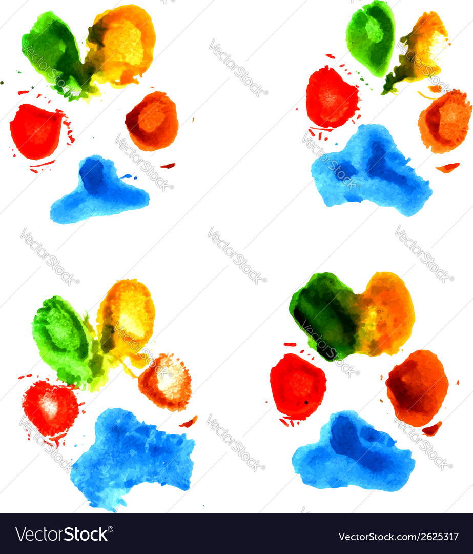 Watercolor animal paw prints vector