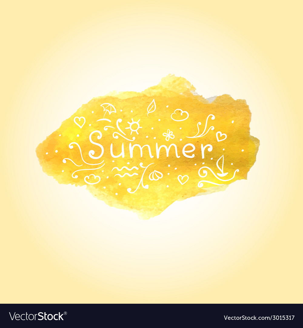 Watercolor summer poster with hand drawn text vector | Price: 1 Credit (USD $1)
