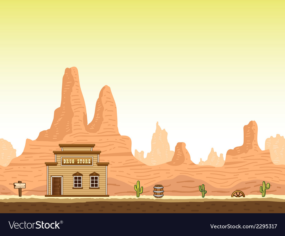 Wild old west canyon background with drug store vector | Price: 1 Credit (USD $1)