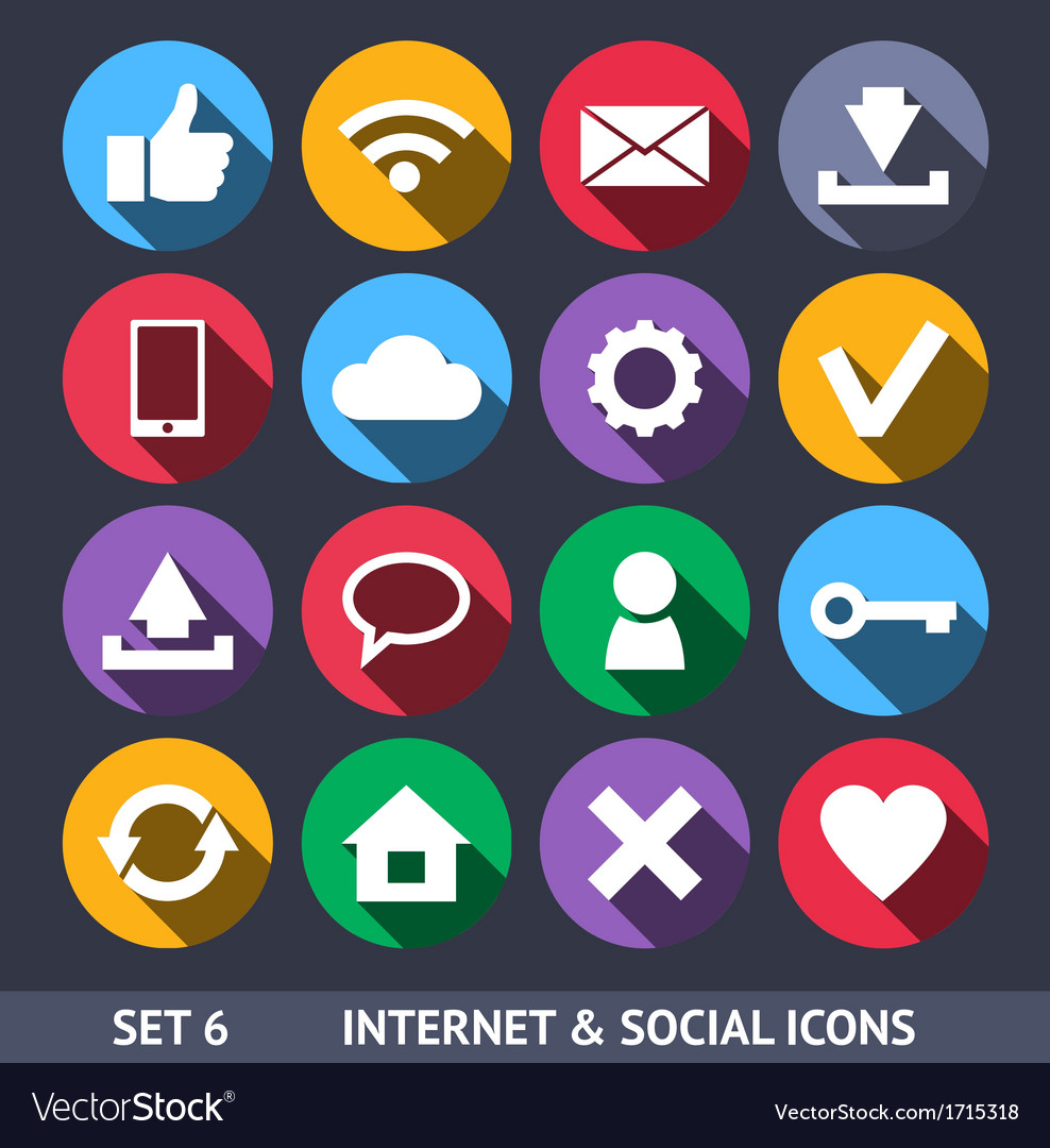 Internet and social icons with long shadow set 6 vector | Price: 1 Credit (USD $1)