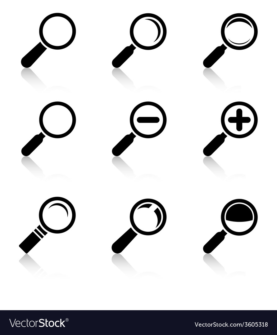 Magnifier glass icons with reflection vector | Price: 1 Credit (USD $1)