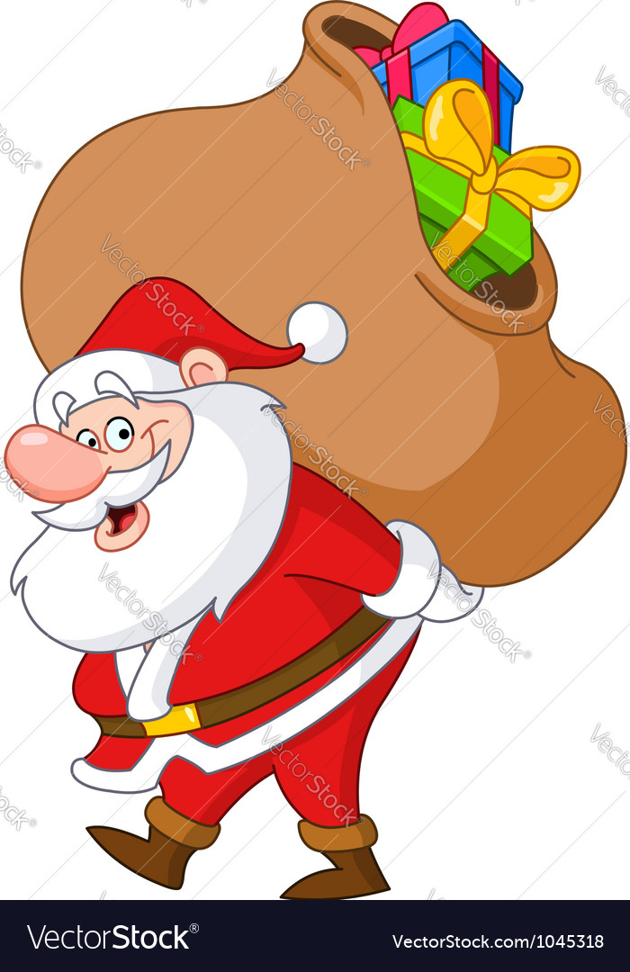 Santa with sack vector | Price: 1 Credit (USD $1)