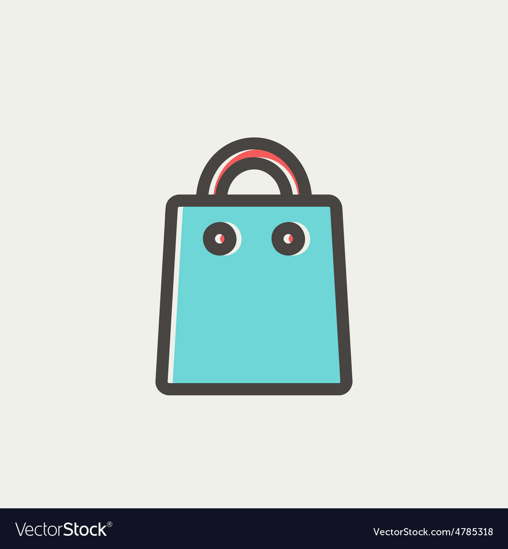 Shopping bag thin line icon vector | Price: 1 Credit (USD $1)