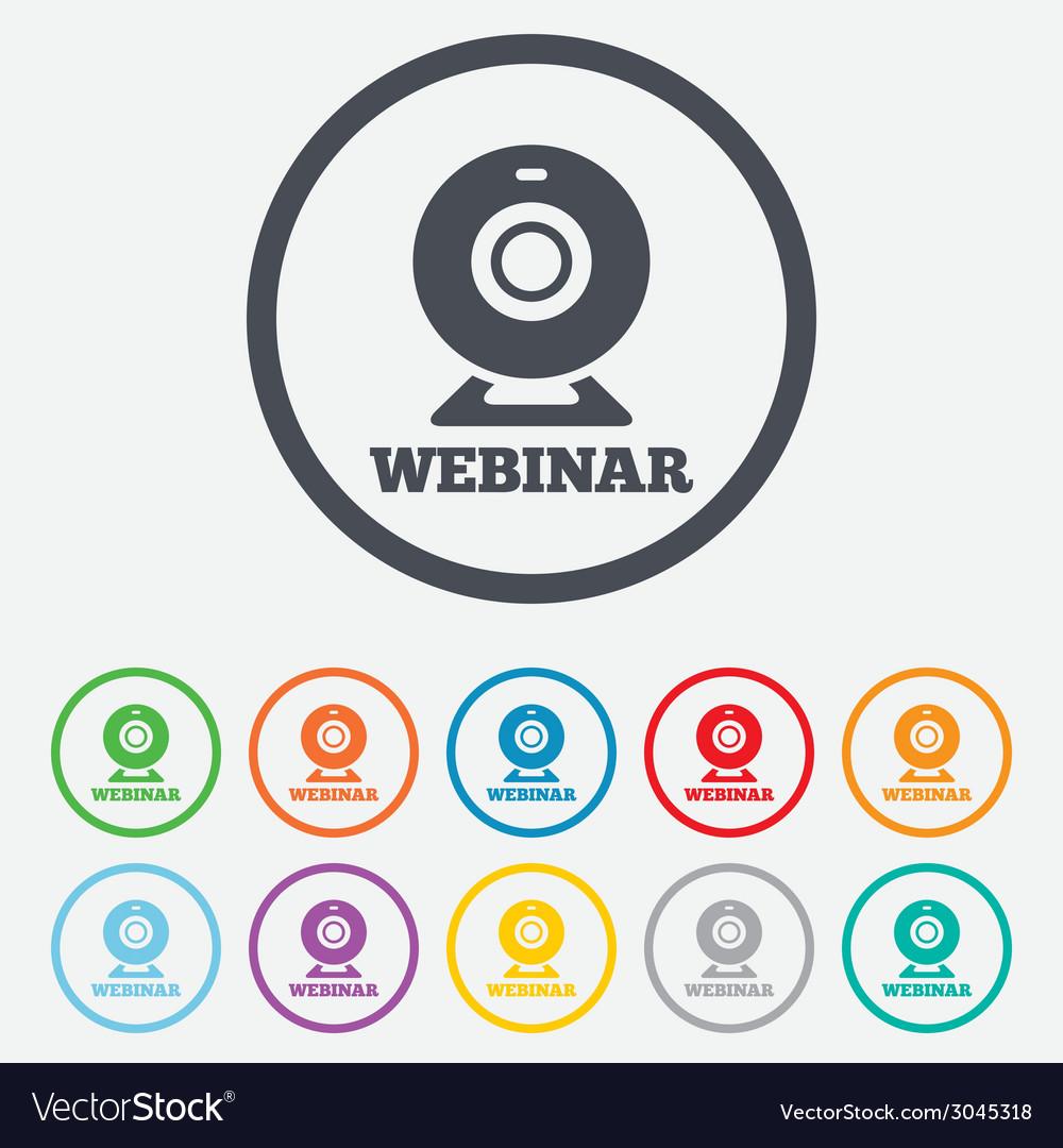 Webinar web camera sign icon online web study vector | Price: 1 Credit (USD $1)