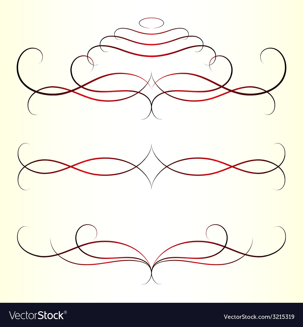 Calligraphic design elements set vector | Price: 1 Credit (USD $1)