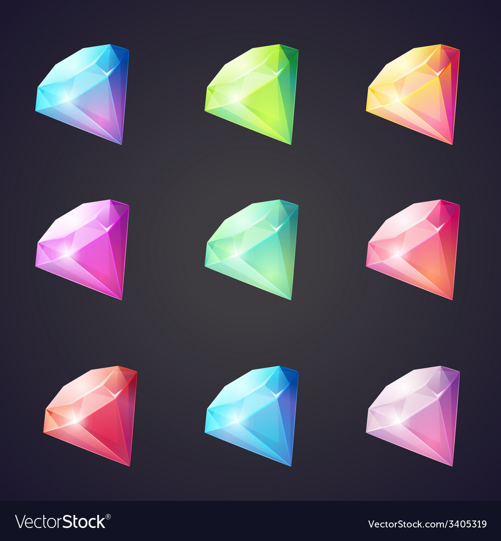 Cartoon image of gems and diamonds of different vector | Price: 1 Credit (USD $1)