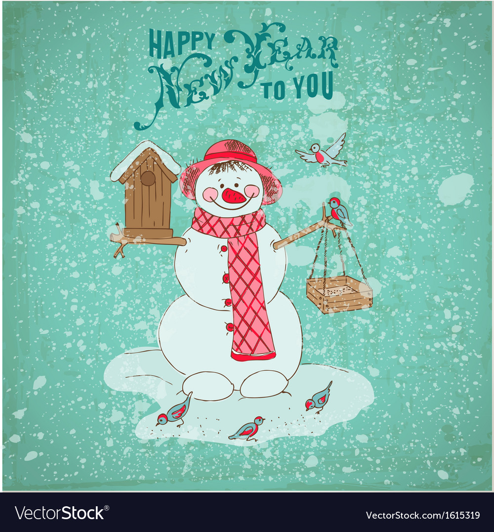 Christmas card - snowman and birds vector | Price: 1 Credit (USD $1)