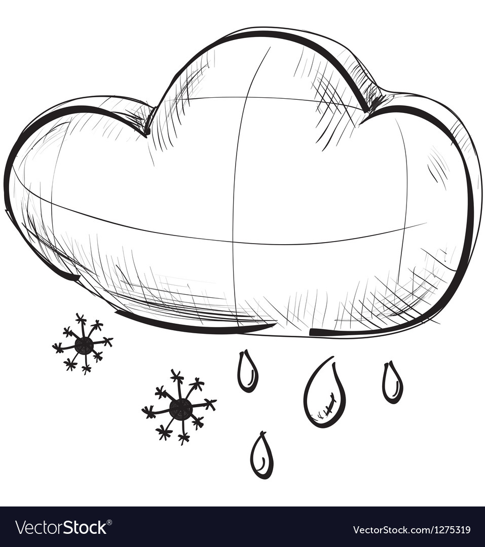 Cloud with snowflakes and rain drops weather icon vector | Price: 1 Credit (USD $1)