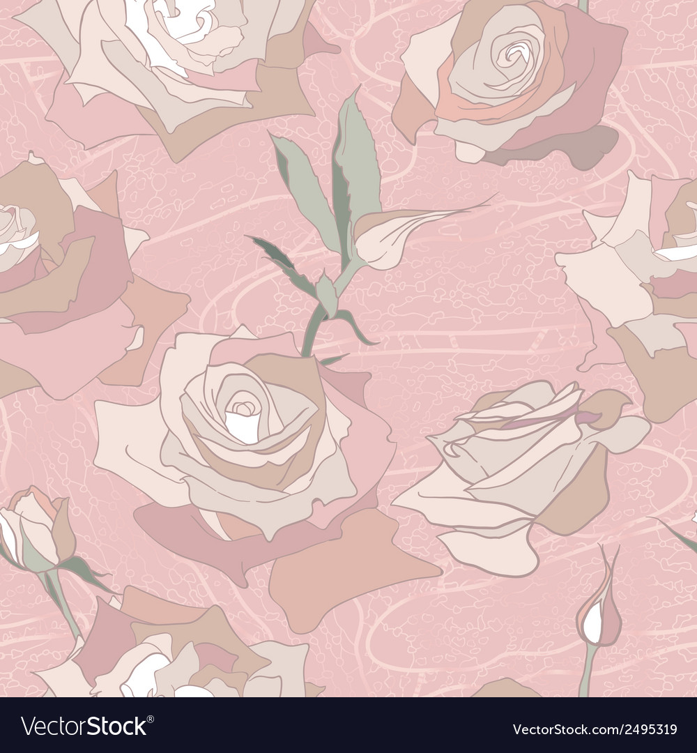 Floral seamless pattern background with roses vector | Price: 1 Credit (USD $1)