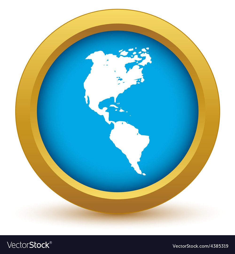 Gold continent america icon vector | Price: 1 Credit (USD $1)