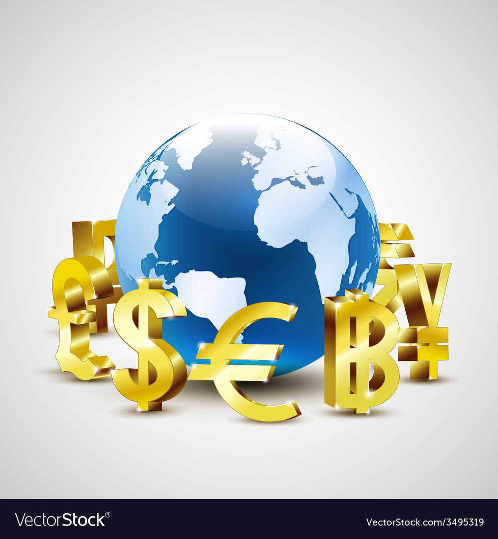 Golden world currency symbols moving around world vector | Price: 1 Credit (USD $1)