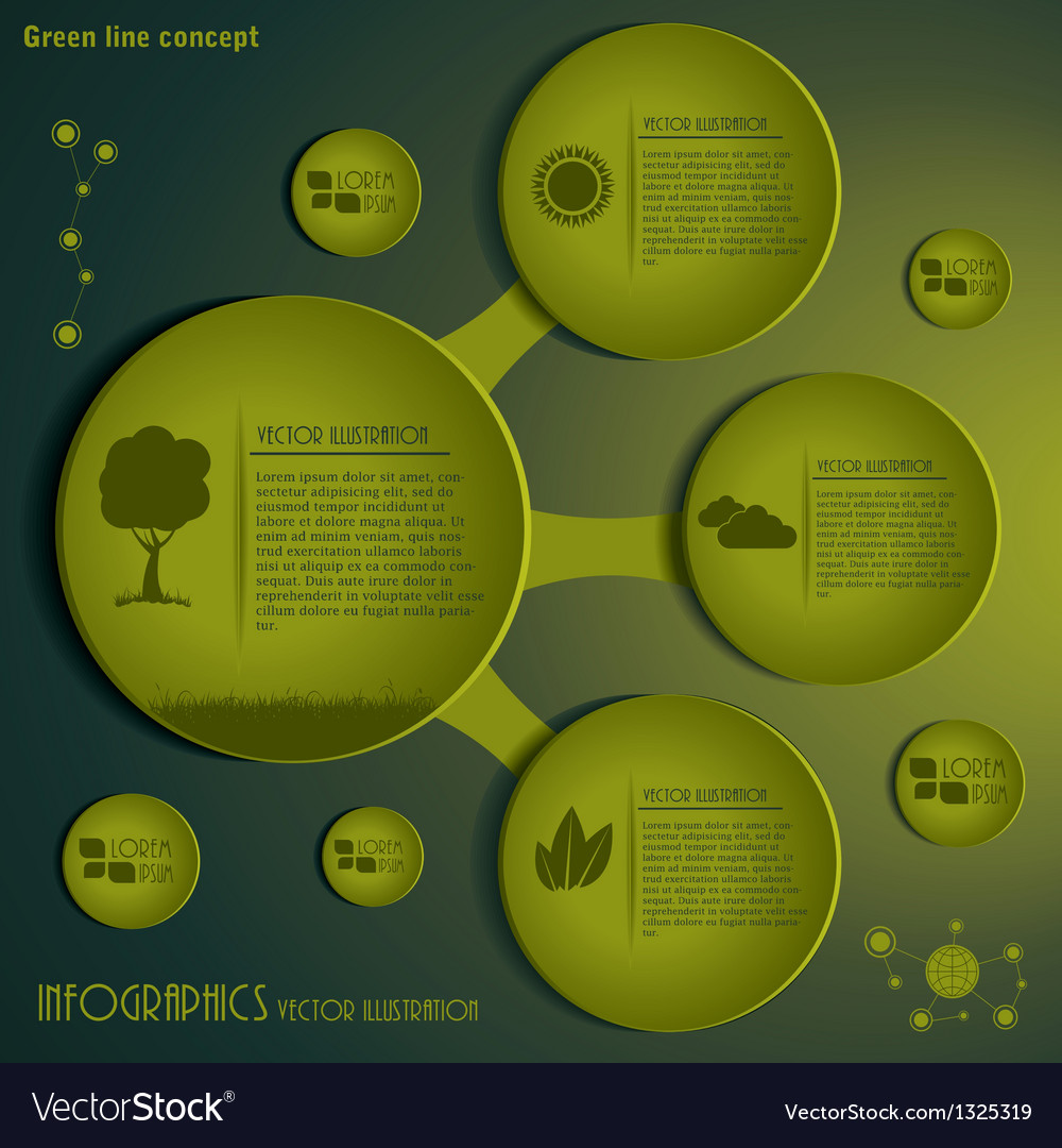 Green infographics design template vector | Price: 1 Credit (USD $1)