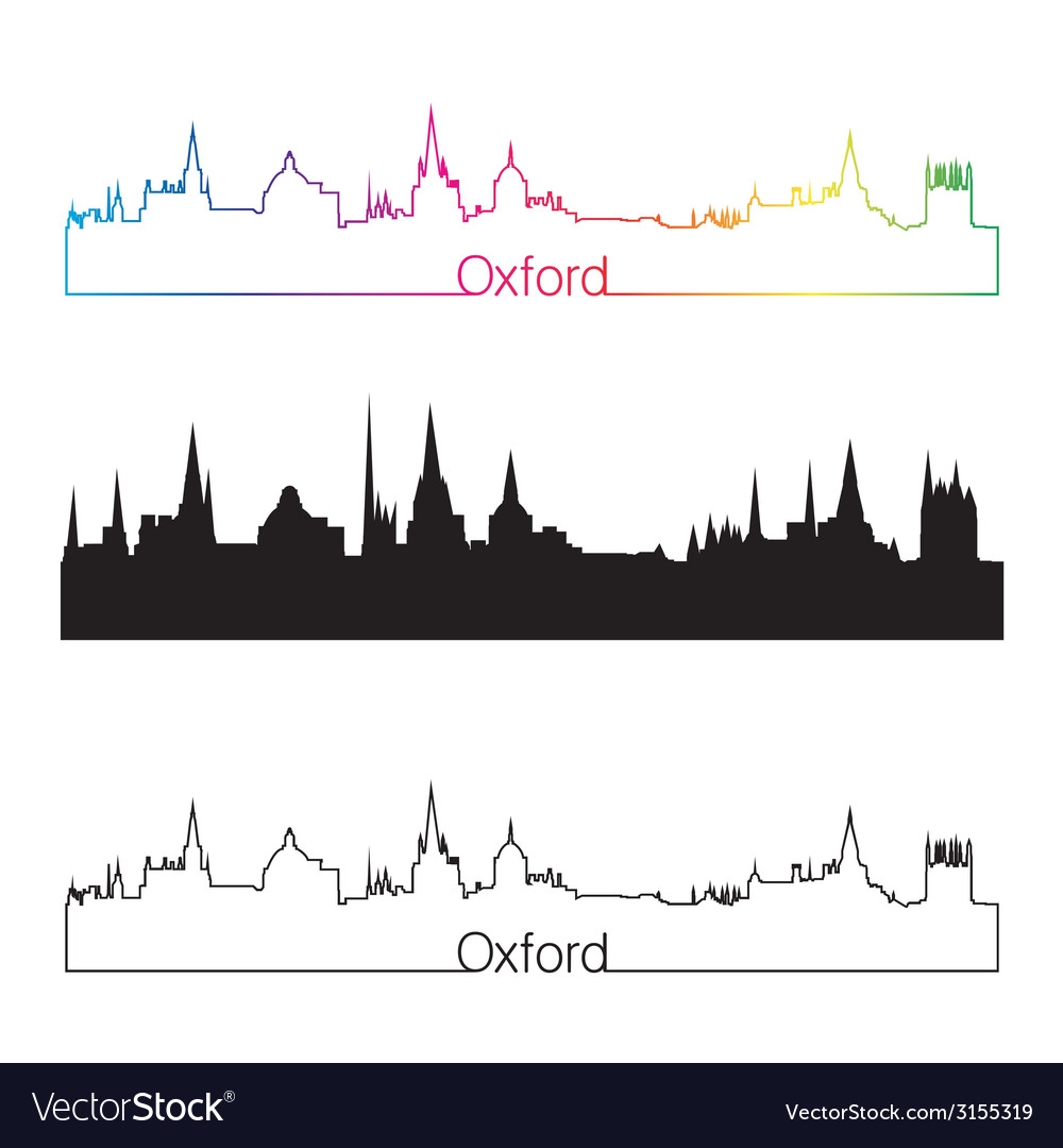 Oxford skyline linear style with rainbow vector | Price: 1 Credit (USD $1)