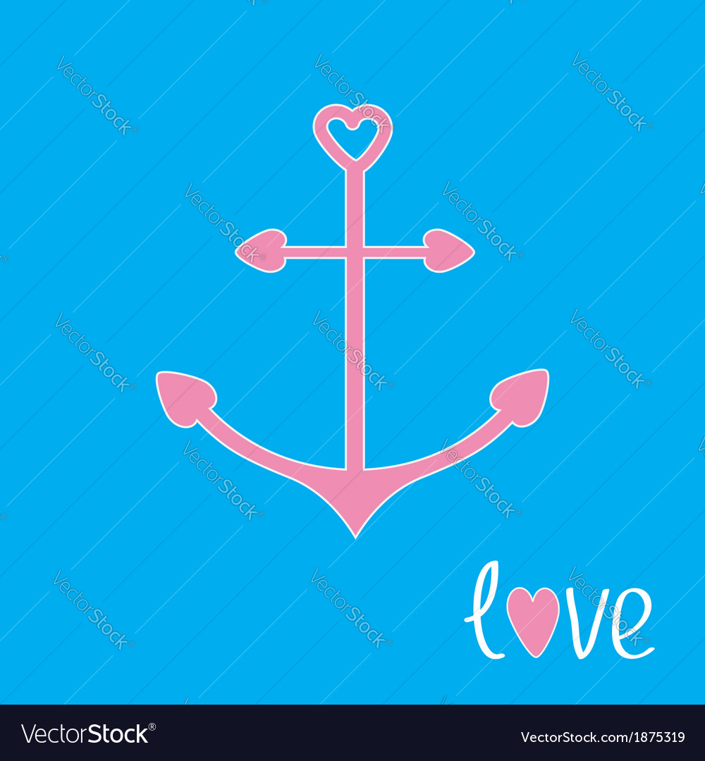 Pink anchor with shapes of heart love card vector | Price: 1 Credit (USD $1)