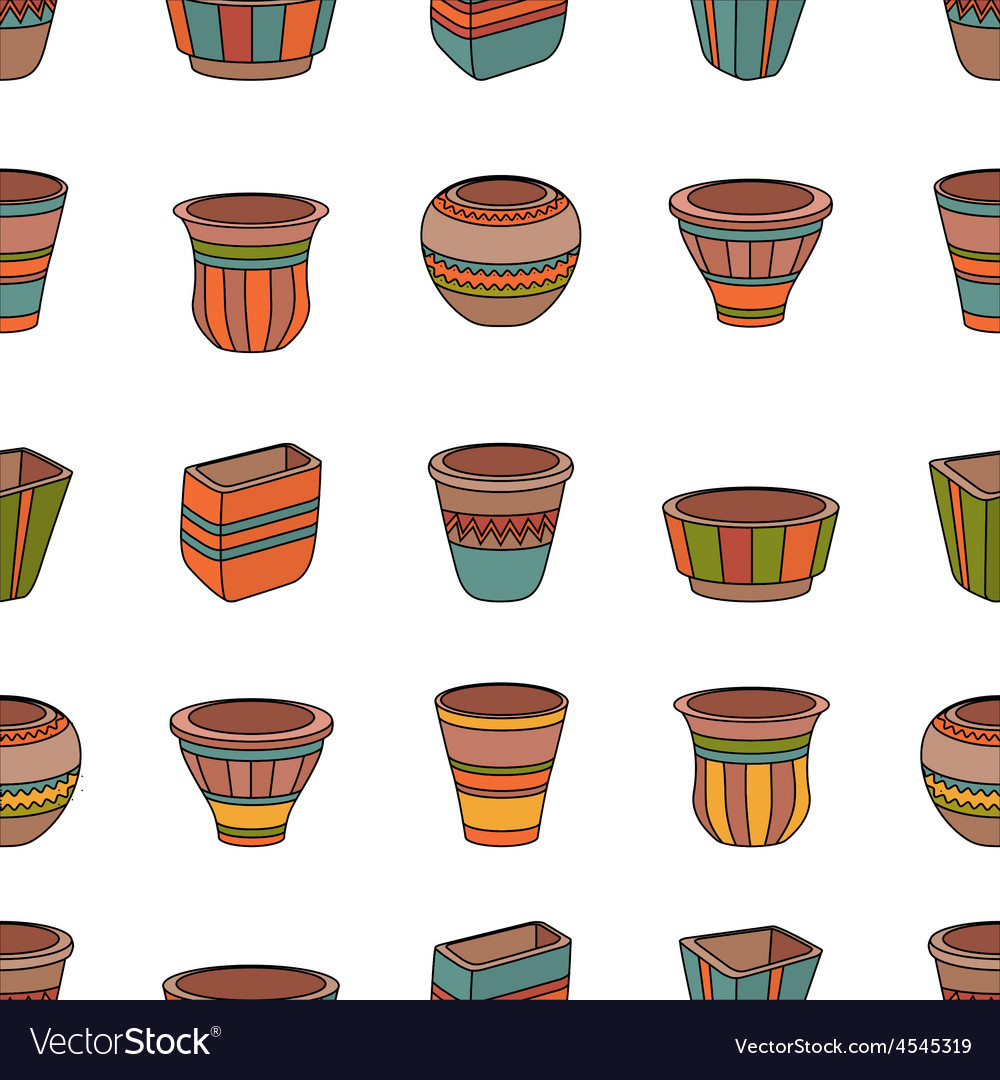 Seamless pattern with clay flower pots vector | Price: 1 Credit (USD $1)