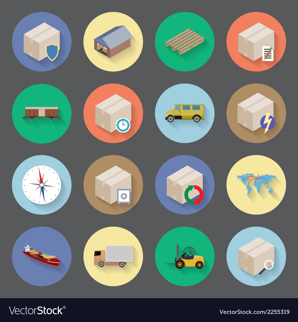 Transportation and delivery flat icons set vector | Price: 1 Credit (USD $1)