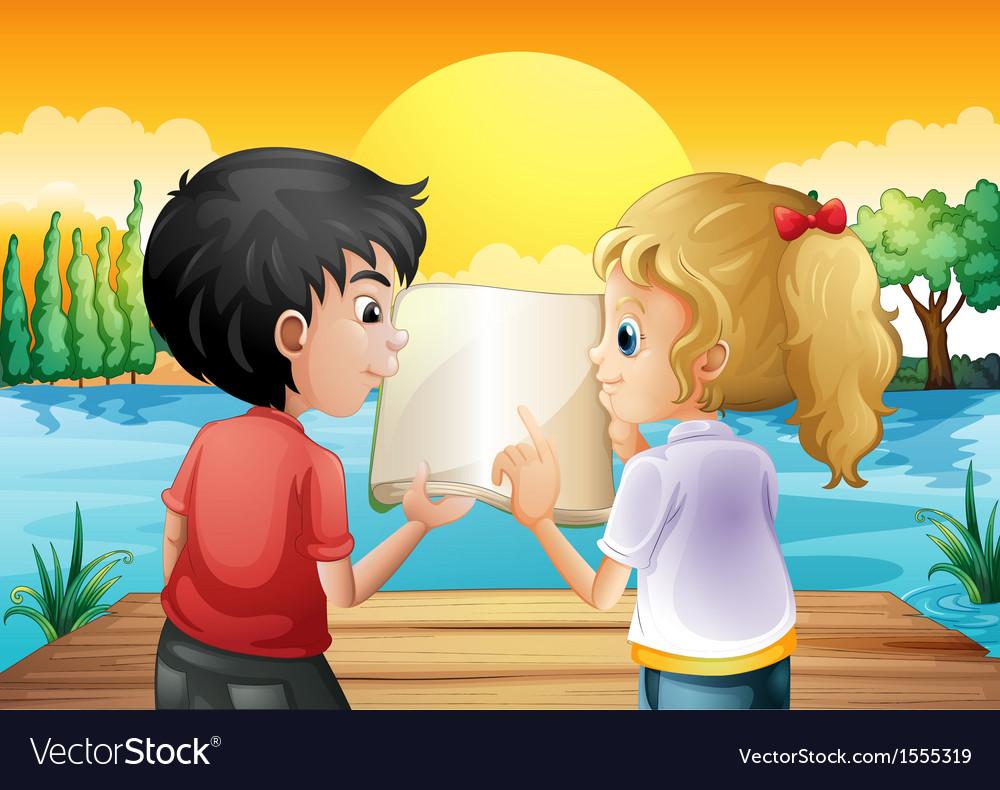Two teenagers reading an empty book at the wooden vector | Price: 1 Credit (USD $1)