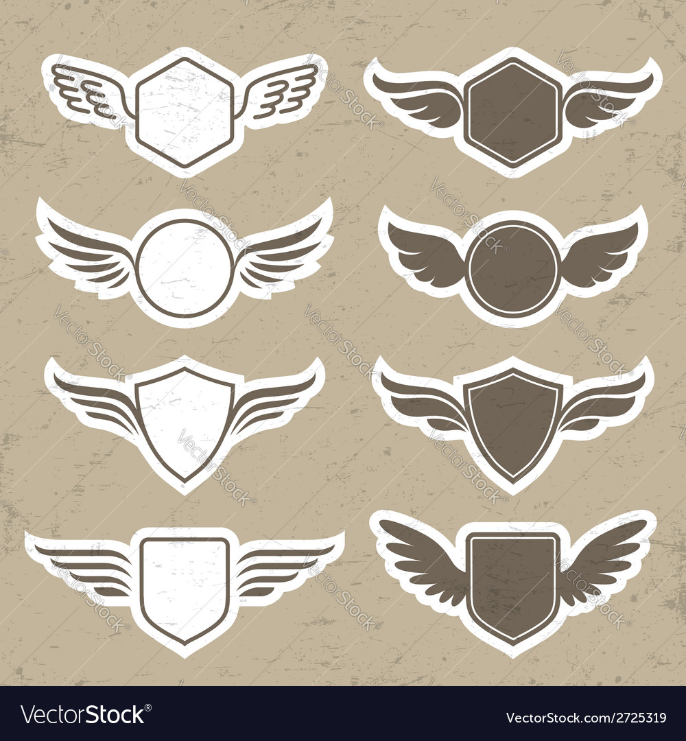 Vintage heraldic shapes with wings vector | Price: 1 Credit (USD $1)