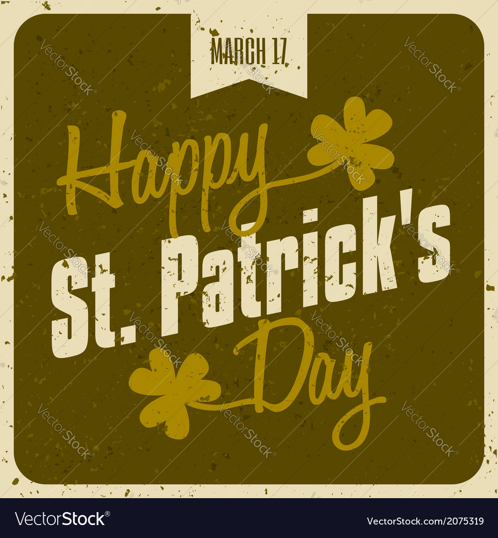 Vintage style st patricks day greeting card design vector | Price: 1 Credit (USD $1)
