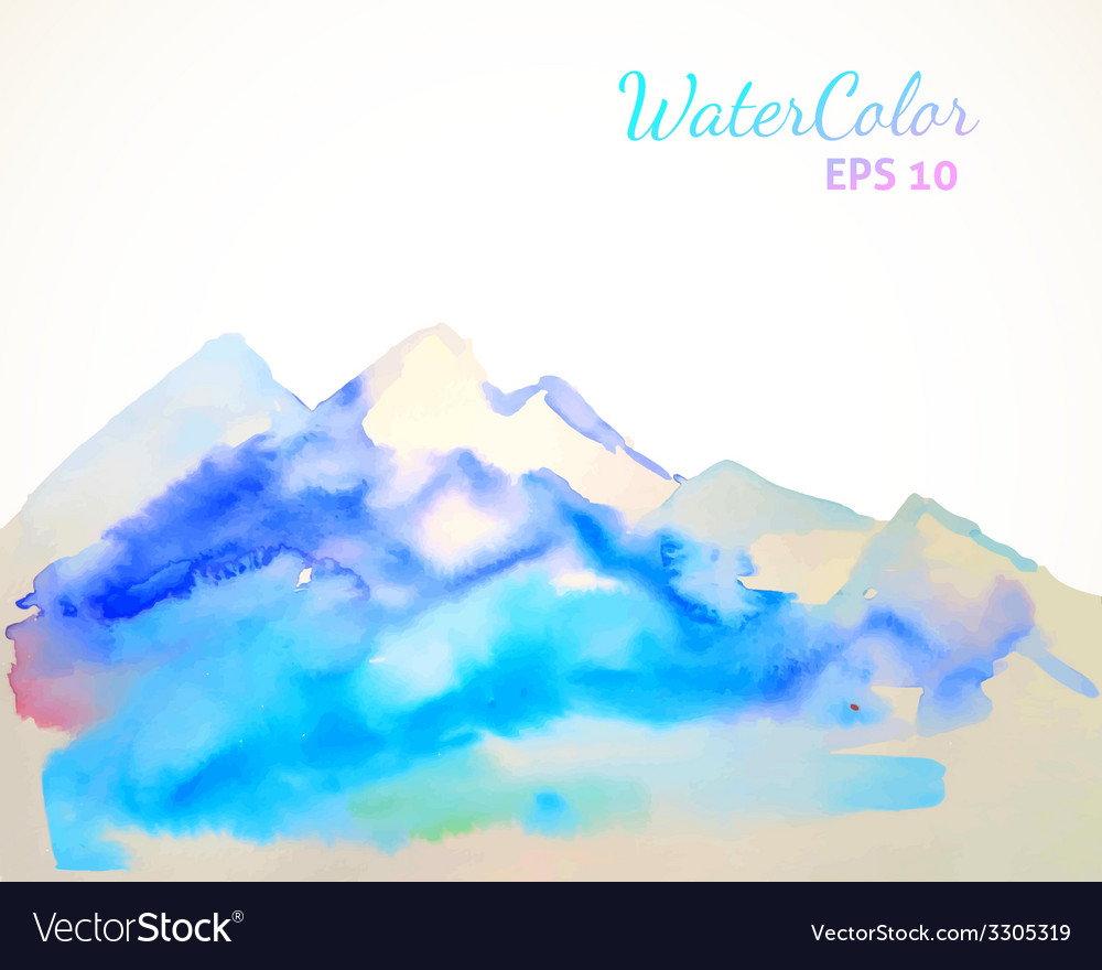 Watercolor mountain background vector | Price: 1 Credit (USD $1)
