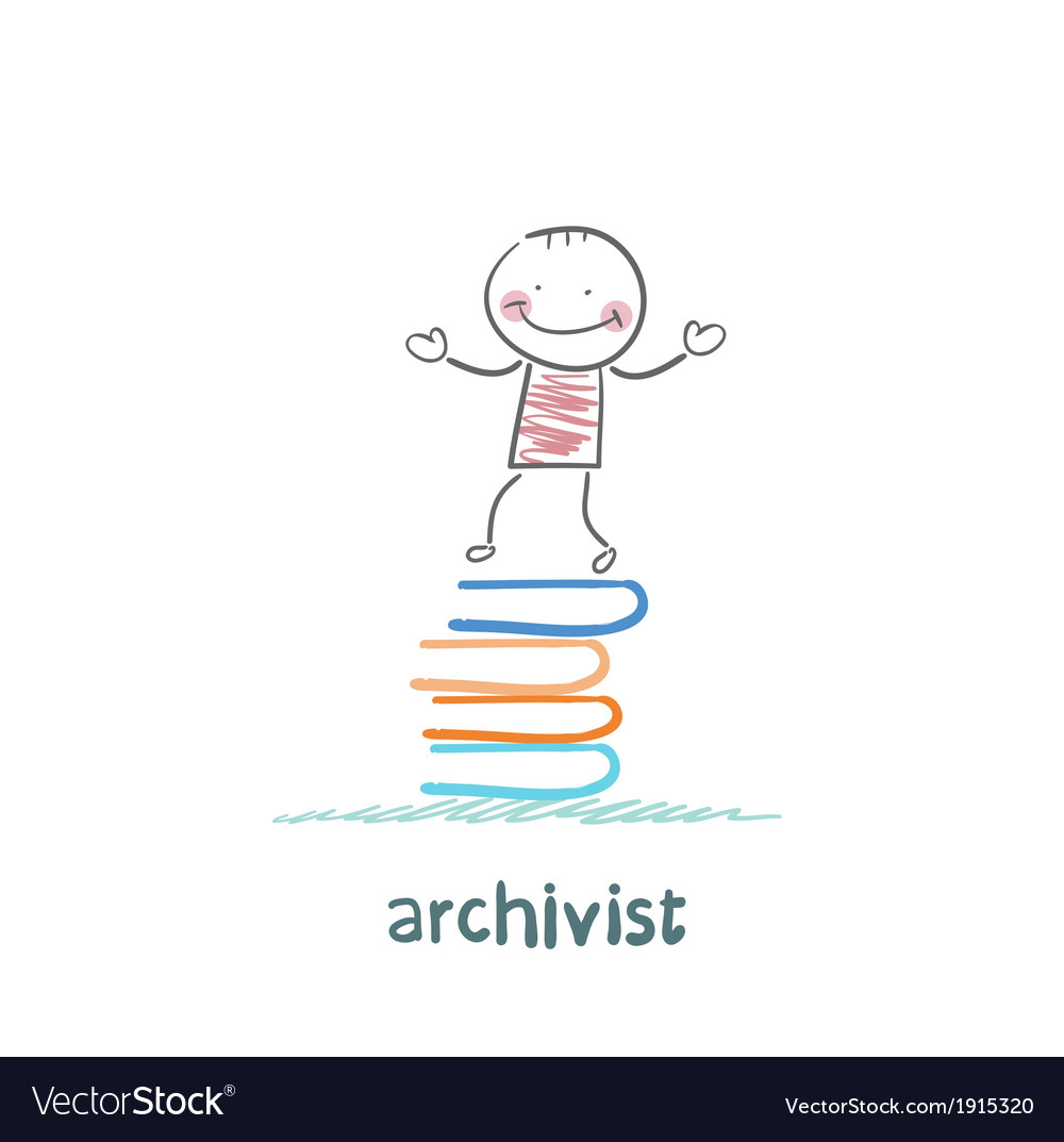 Archivist stands on a pile of books vector | Price: 1 Credit (USD $1)
