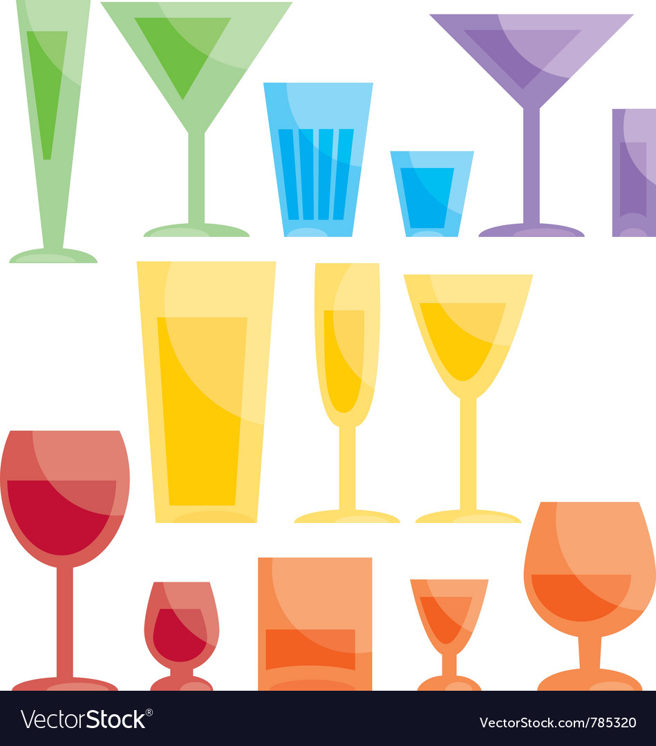 Assorted bar glasses vector | Price: 1 Credit (USD $1)