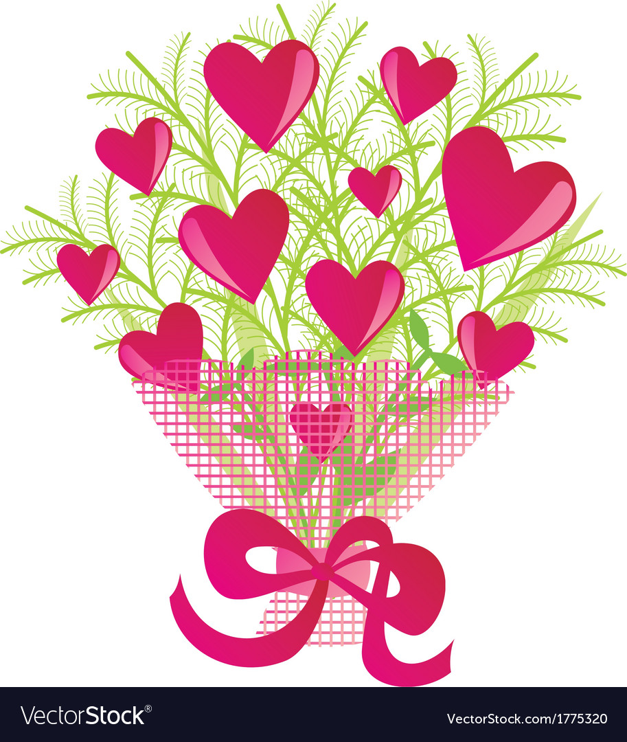 Bouquet of flowers with hearts vector | Price: 1 Credit (USD $1)