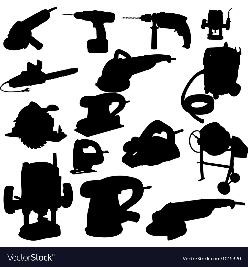 Collection of power tool silhouette vector | Price: 1 Credit (USD $1)