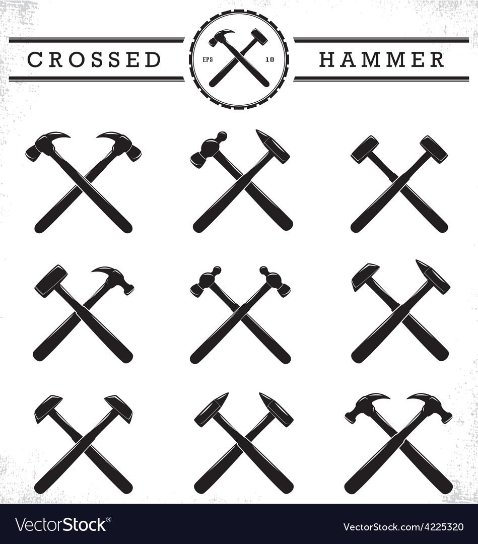 Crossed hammer vector | Price: 1 Credit (USD $1)