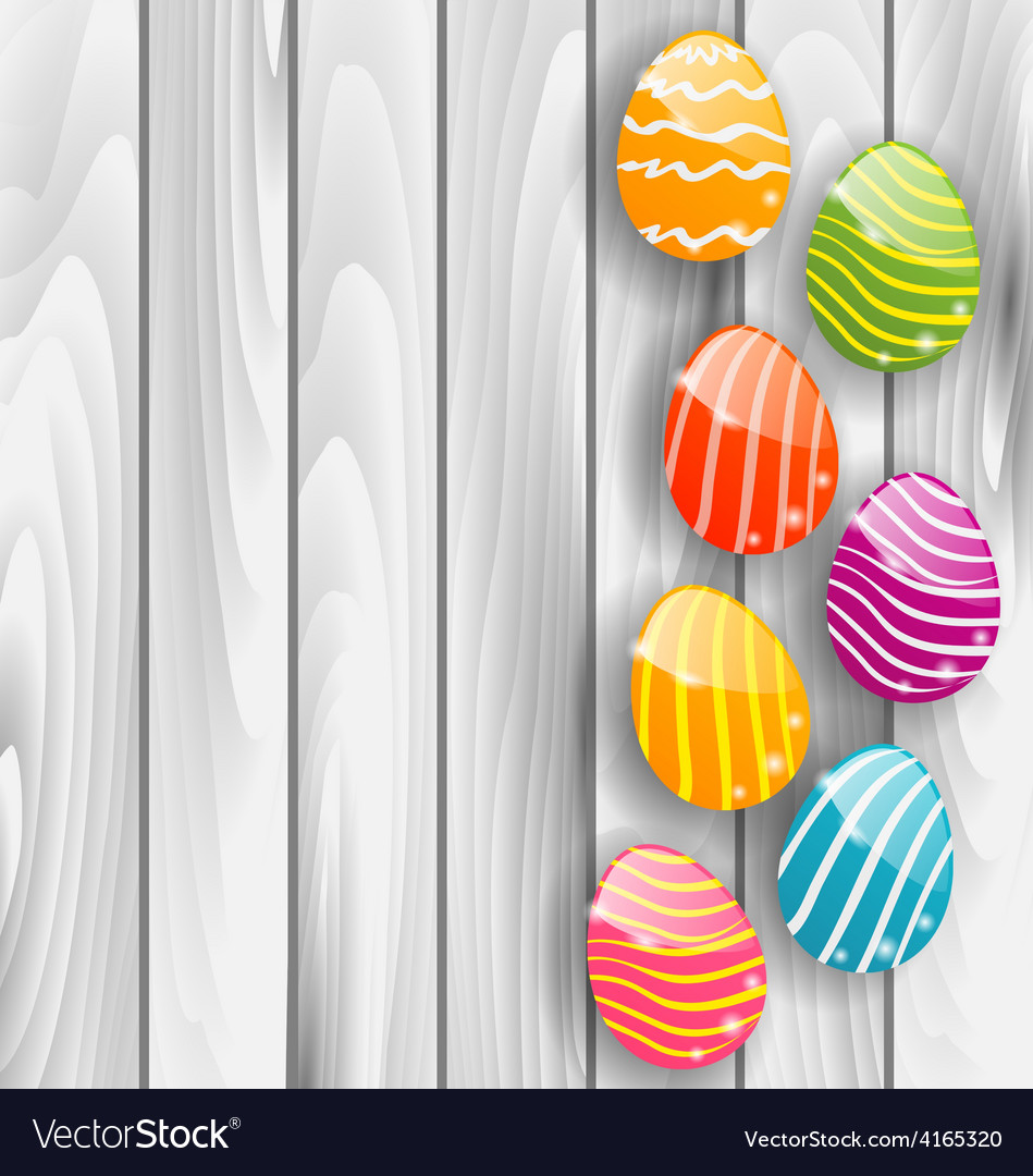 Easter glossy colorful eggs on grey wooden texture vector | Price: 1 Credit (USD $1)
