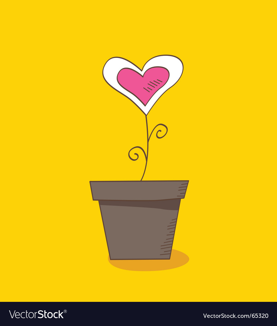 Flowerpot heart vector | Price: 1 Credit (USD $1)