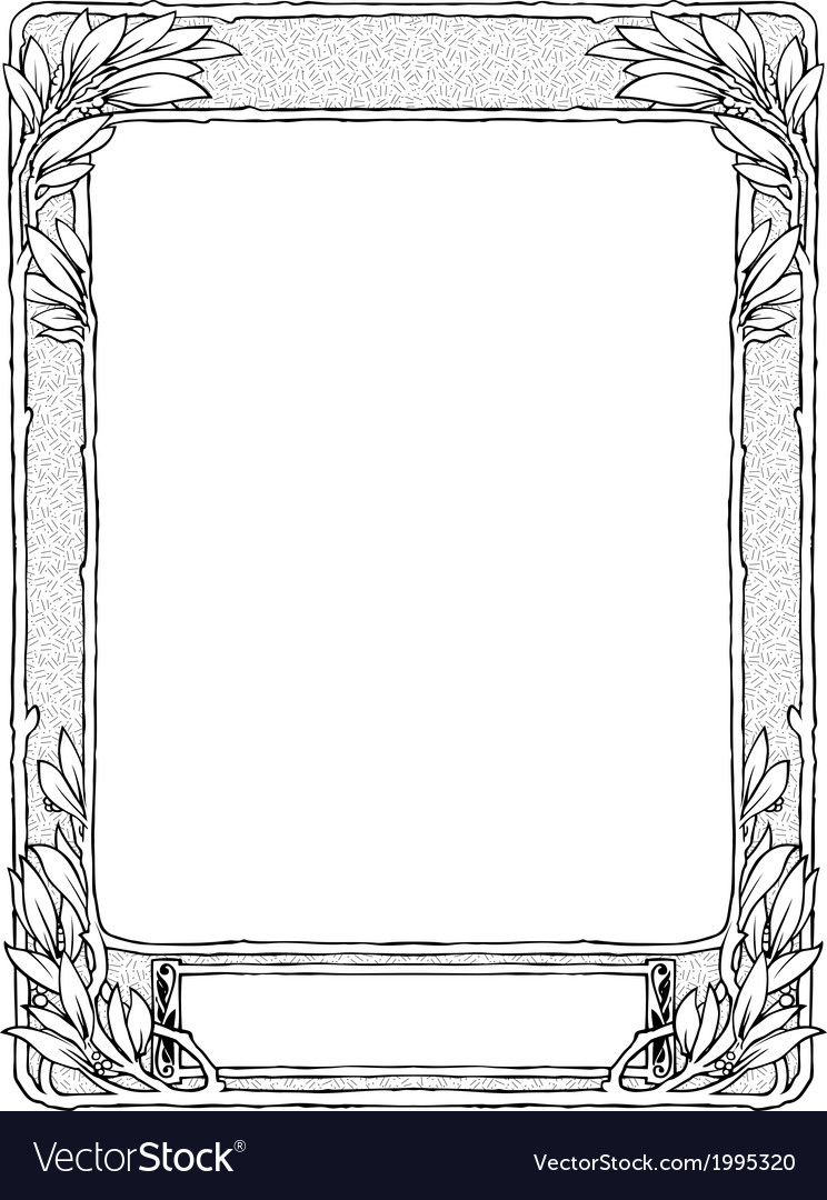 Frame with laurel for portrait black isolated vector | Price: 1 Credit (USD $1)
