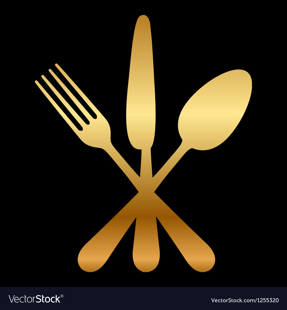 Gold cutlery icon vector | Price: 1 Credit (USD $1)