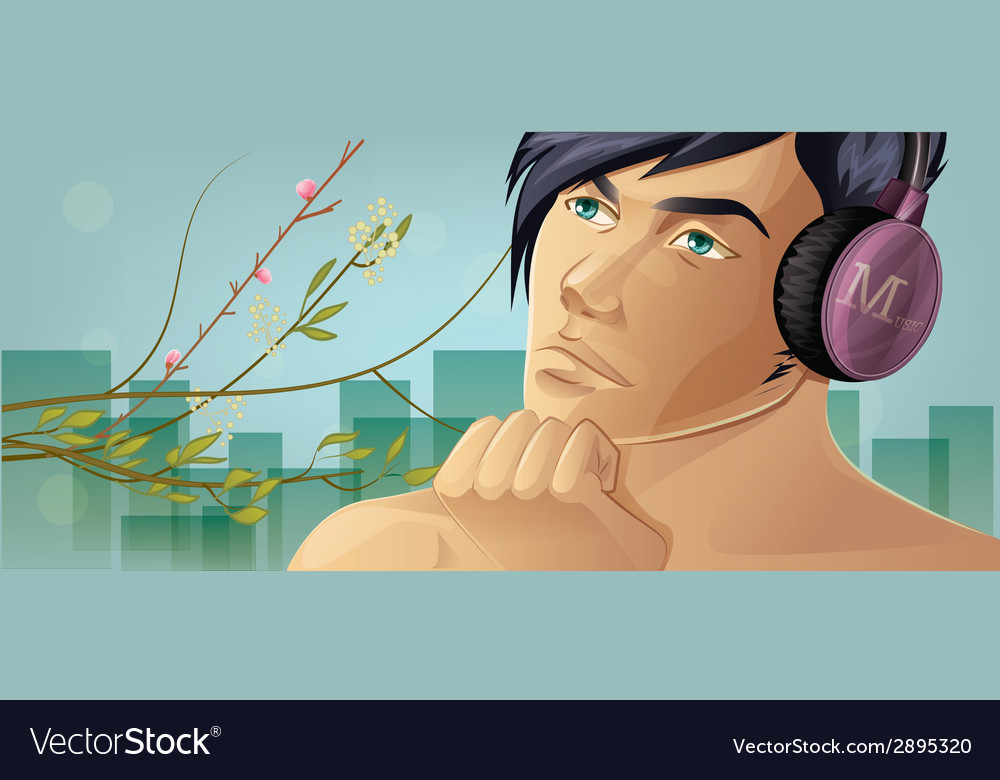 Listening music vector | Price: 1 Credit (USD $1)