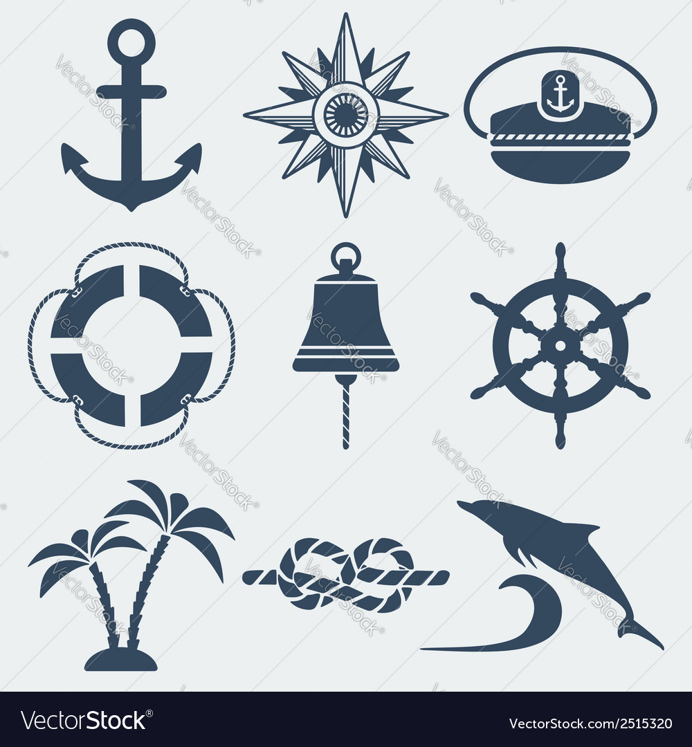 Nautical marine icons set vector | Price: 1 Credit (USD $1)