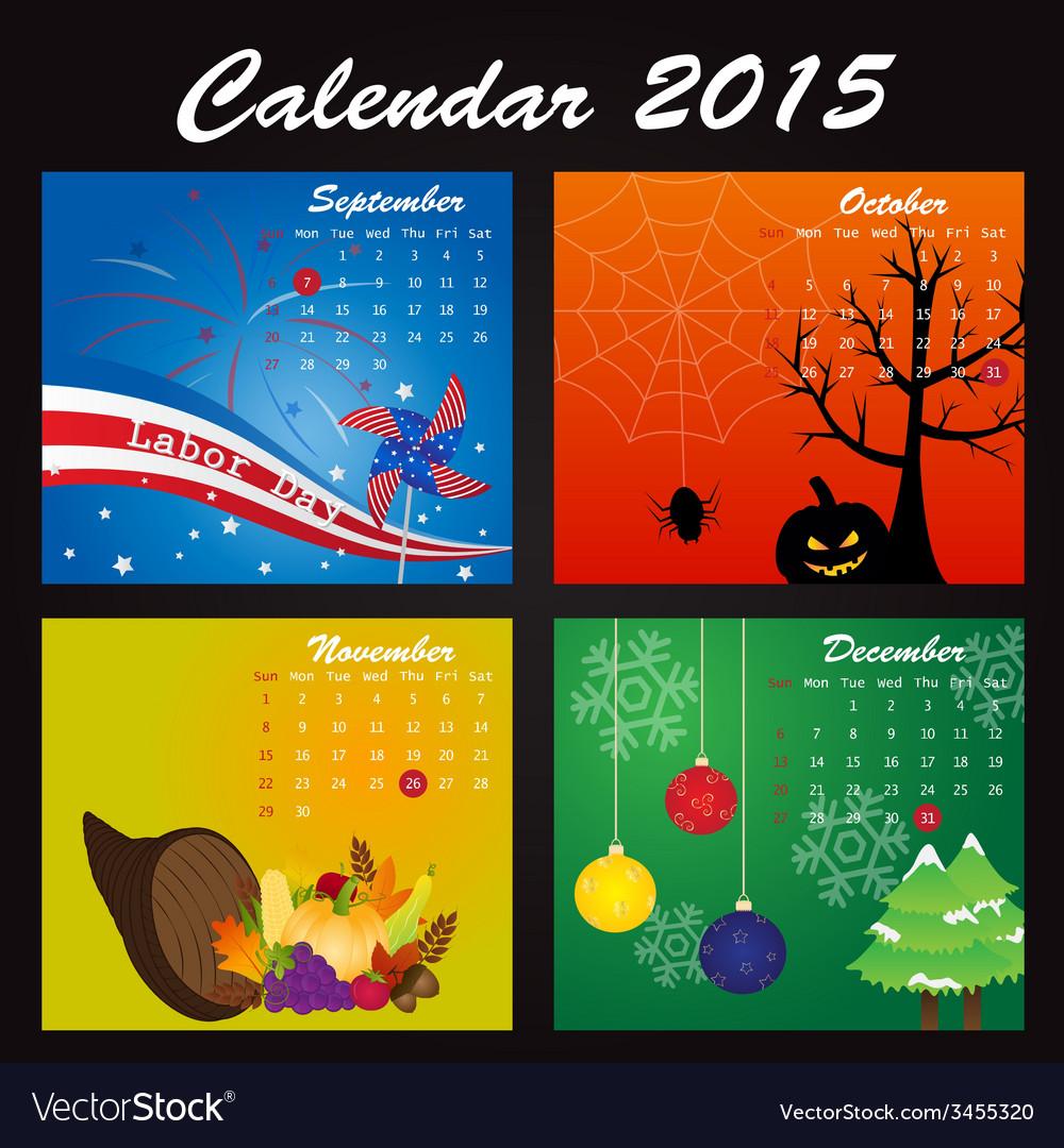 Public holiday calendar of 2015 vector | Price: 1 Credit (USD $1)